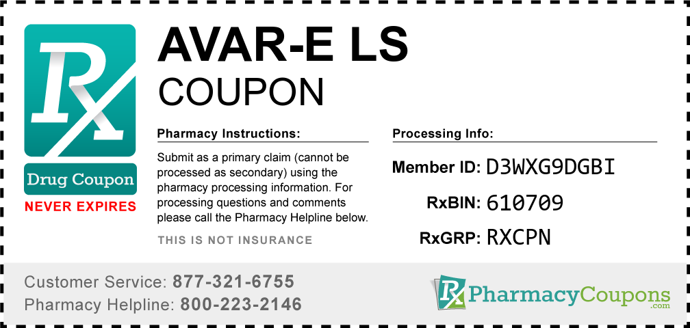Avar-e ls Prescription Drug Coupon with Pharmacy Savings