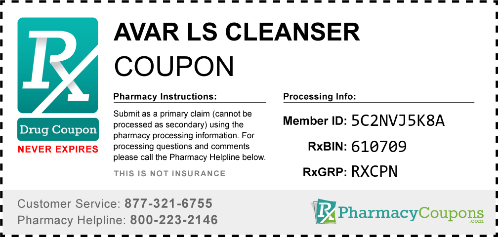 Avar ls cleanser Prescription Drug Coupon with Pharmacy Savings