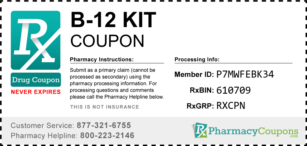 B-12 kit Prescription Drug Coupon with Pharmacy Savings
