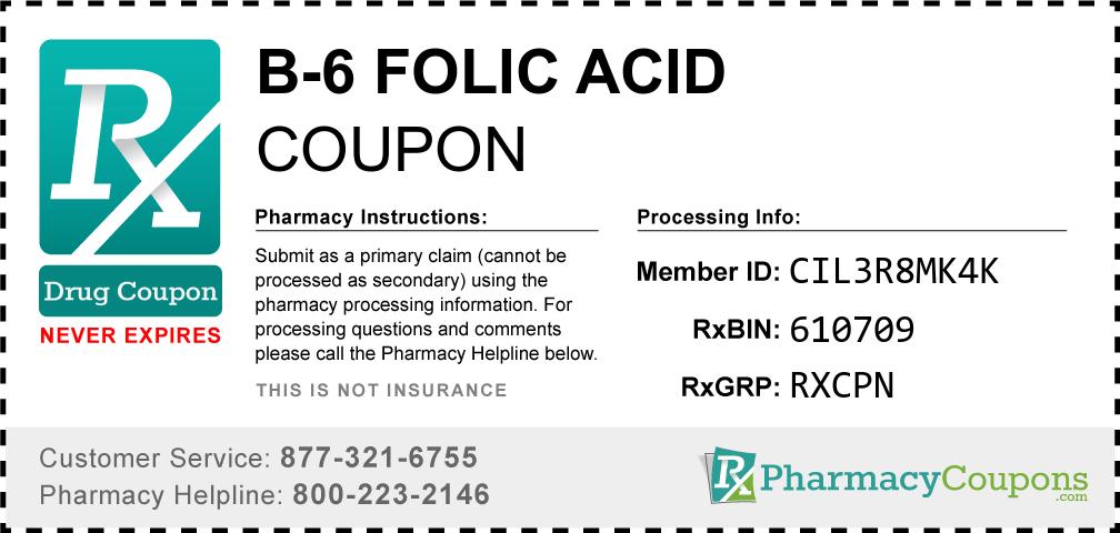 B-6 folic acid Prescription Drug Coupon with Pharmacy Savings