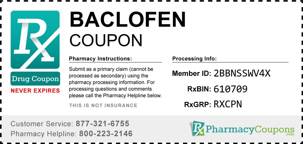Baclofen Prescription Drug Coupon with Pharmacy Savings