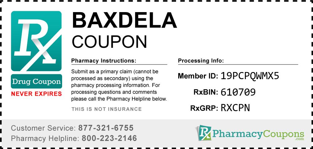 Baxdela Prescription Drug Coupon with Pharmacy Savings