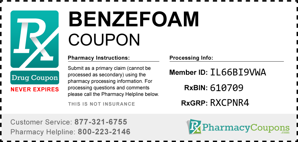 Benzefoam Prescription Drug Coupon with Pharmacy Savings