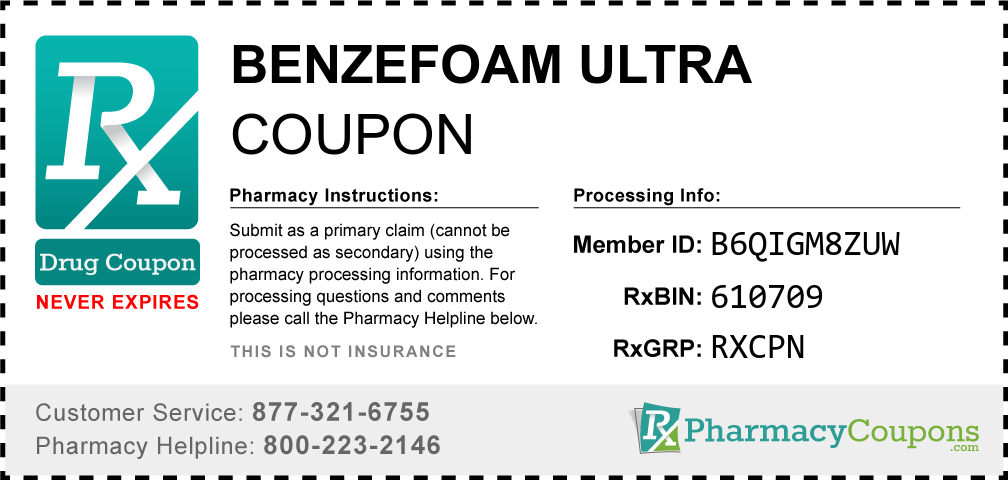 Benzefoam ultra Prescription Drug Coupon with Pharmacy Savings