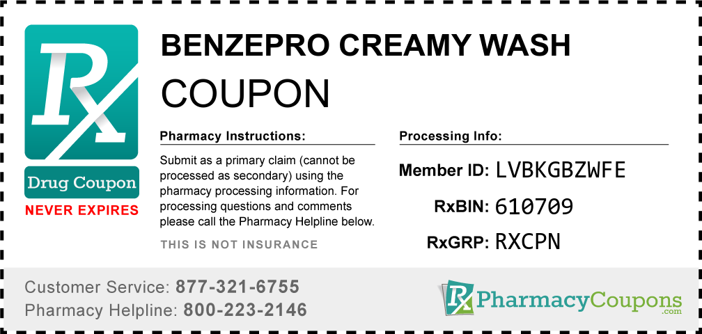Benzepro creamy wash Prescription Drug Coupon with Pharmacy Savings