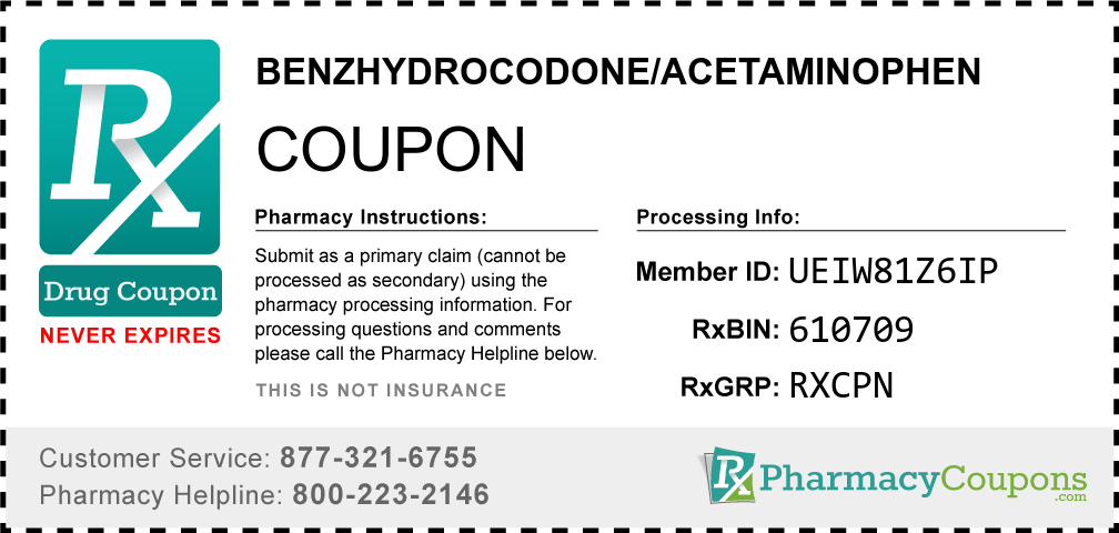 Benzhydrocodone/acetaminophen Prescription Drug Coupon with Pharmacy Savings