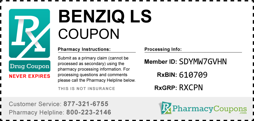 Benziq ls Prescription Drug Coupon with Pharmacy Savings