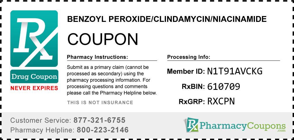 Benzoyl peroxide/clindamycin/niacinamide Prescription Drug Coupon with Pharmacy Savings