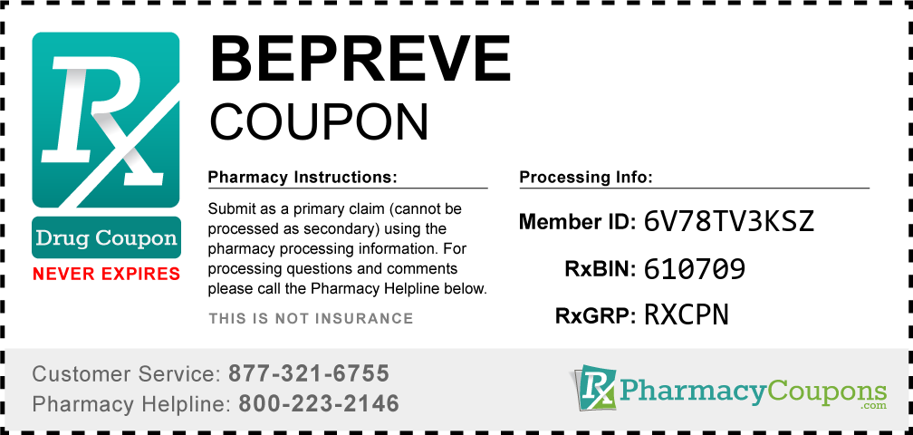 Bepreve Prescription Drug Coupon with Pharmacy Savings