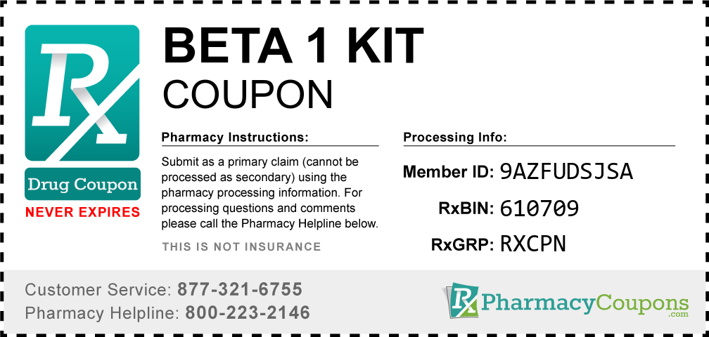 Beta 1 kit Prescription Drug Coupon with Pharmacy Savings