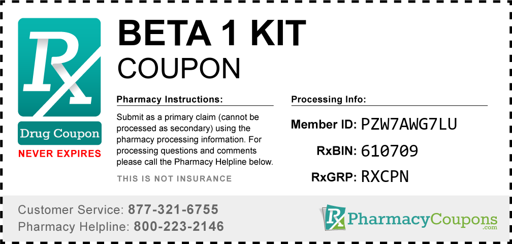 Beta 1 kit Prescription Drug Coupon with Pharmacy Savings