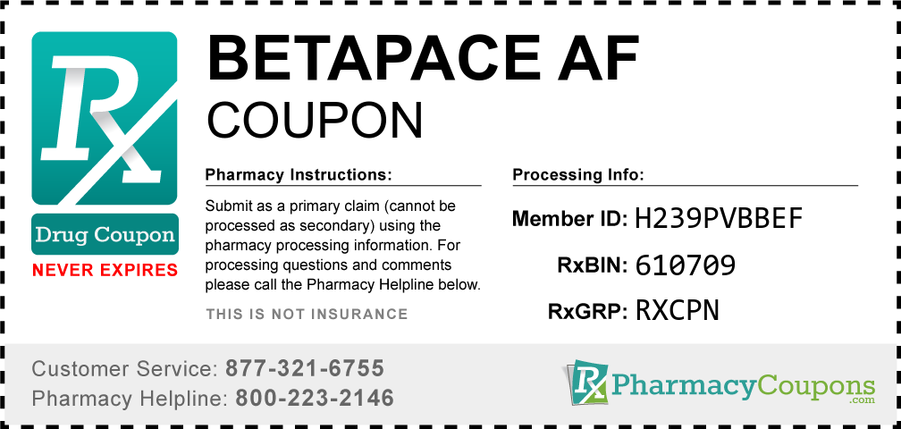 Betapace af Prescription Drug Coupon with Pharmacy Savings