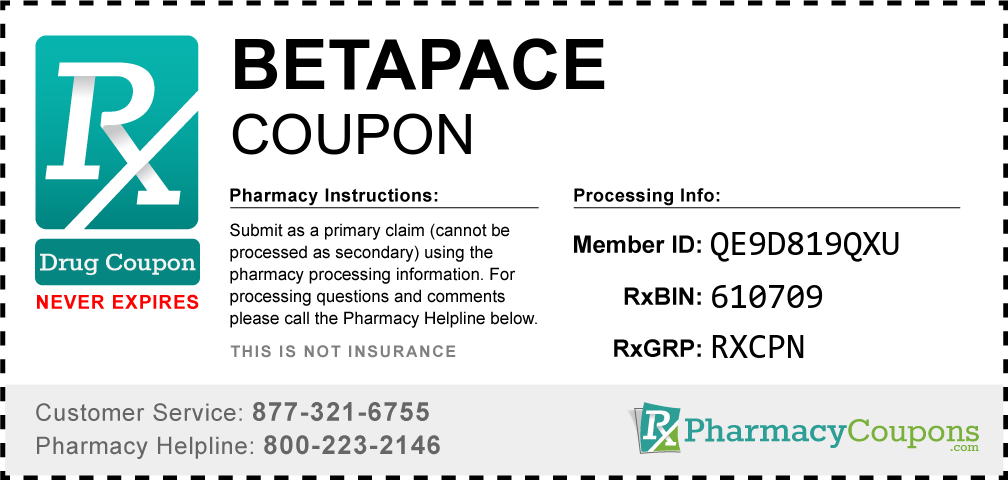 Betapace Prescription Drug Coupon with Pharmacy Savings