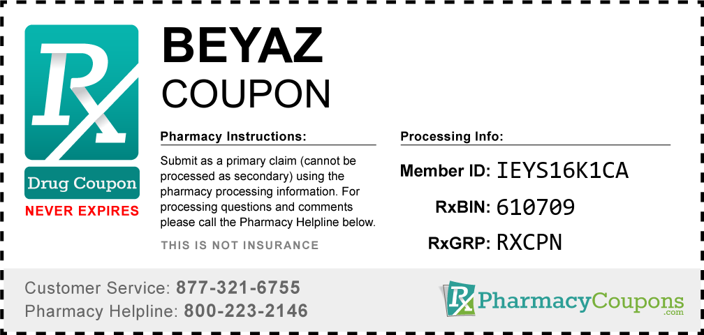 Beyaz Prescription Drug Coupon with Pharmacy Savings