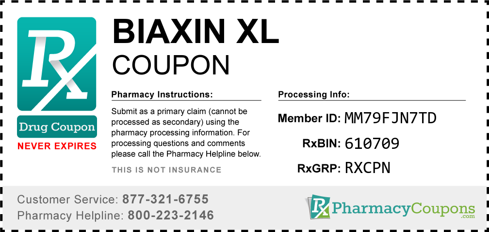 Biaxin xl Prescription Drug Coupon with Pharmacy Savings