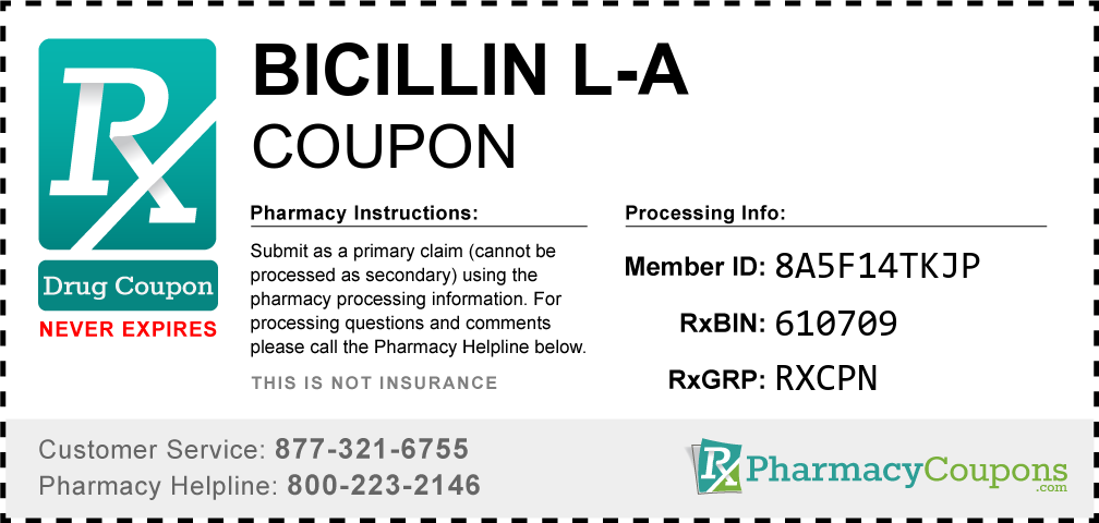 Bicillin l-a Prescription Drug Coupon with Pharmacy Savings