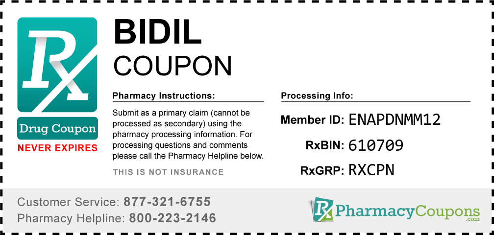 Bidil Prescription Drug Coupon with Pharmacy Savings