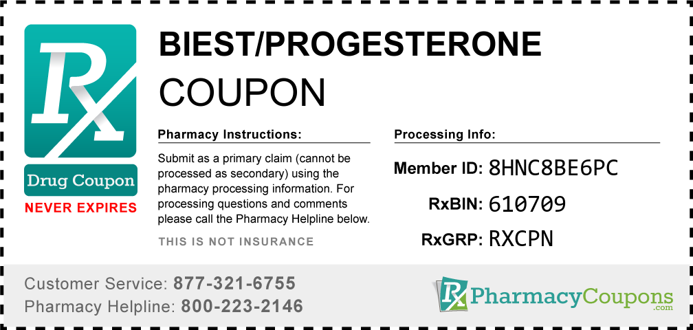 Biest/progesterone Prescription Drug Coupon with Pharmacy Savings