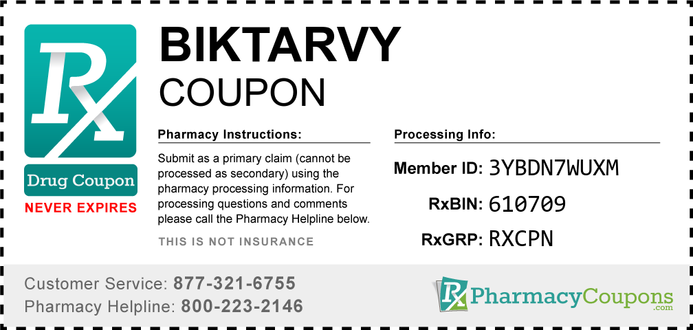 Biktarvy Prescription Drug Coupon with Pharmacy Savings