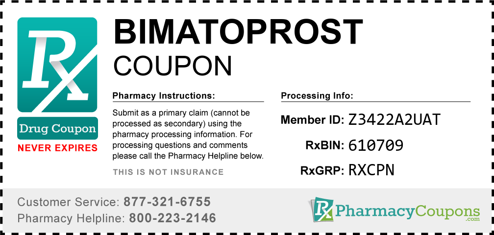 Bimatoprost Prescription Drug Coupon with Pharmacy Savings