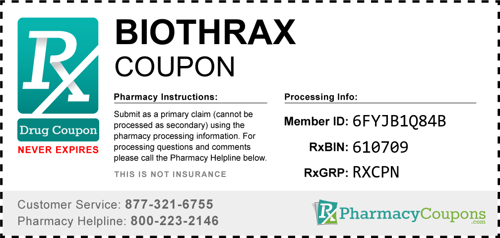 Biothrax Prescription Drug Coupon with Pharmacy Savings