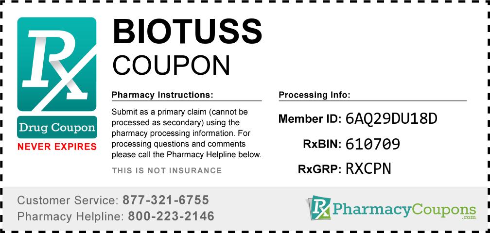 Biotuss Prescription Drug Coupon with Pharmacy Savings