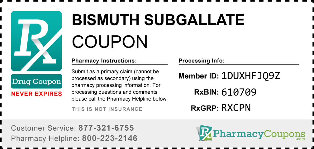 Bismuth subgallate Prescription Drug Coupon with Pharmacy Savings