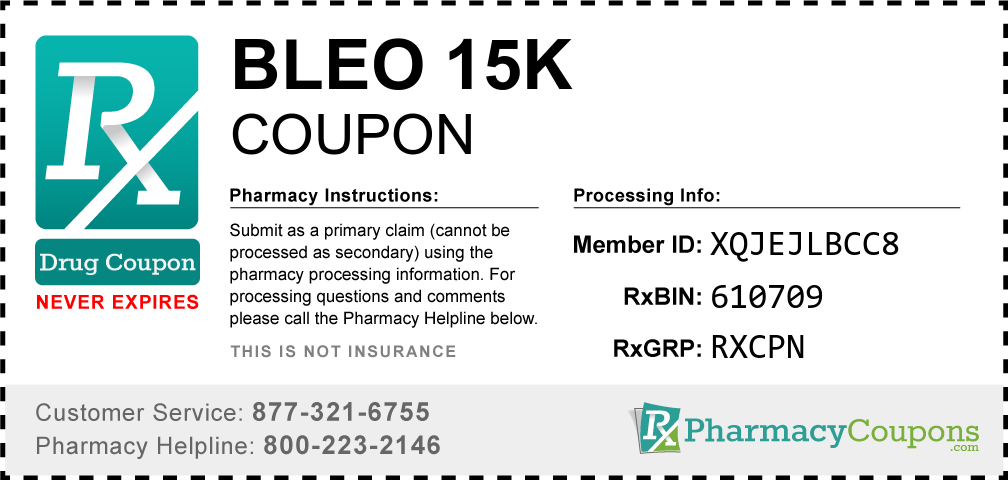 Bleo 15k Prescription Drug Coupon with Pharmacy Savings