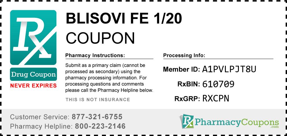 Blisovi fe 1/20 Prescription Drug Coupon with Pharmacy Savings