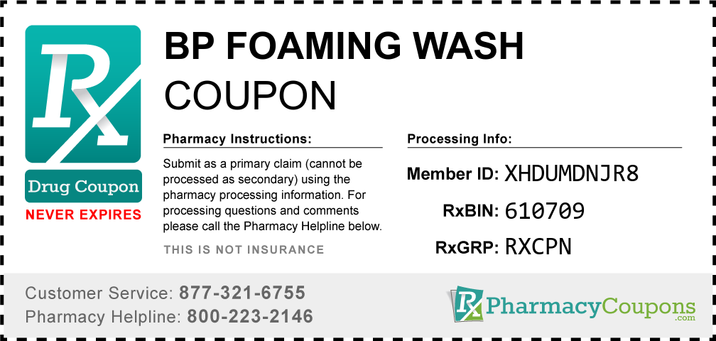 Bp foaming wash Prescription Drug Coupon with Pharmacy Savings