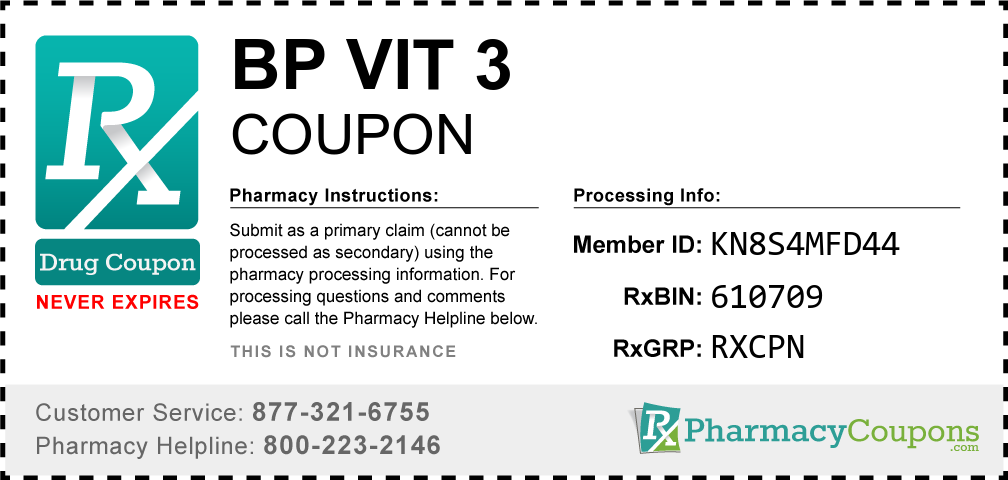 Bp vit 3 Prescription Drug Coupon with Pharmacy Savings