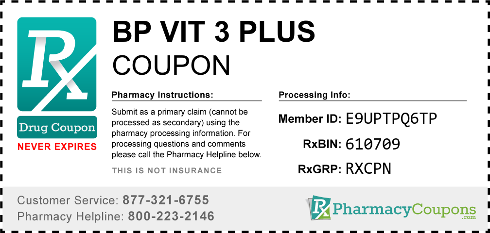 Bp vit 3 plus Prescription Drug Coupon with Pharmacy Savings