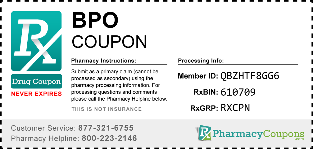 Bpo Prescription Drug Coupon with Pharmacy Savings