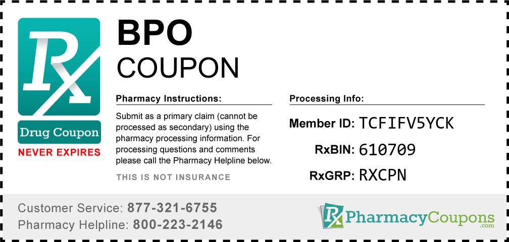 Bpo Prescription Drug Coupon with Pharmacy Savings