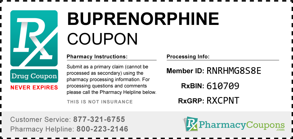 Buprenorphine Prescription Drug Coupon with Pharmacy Savings
