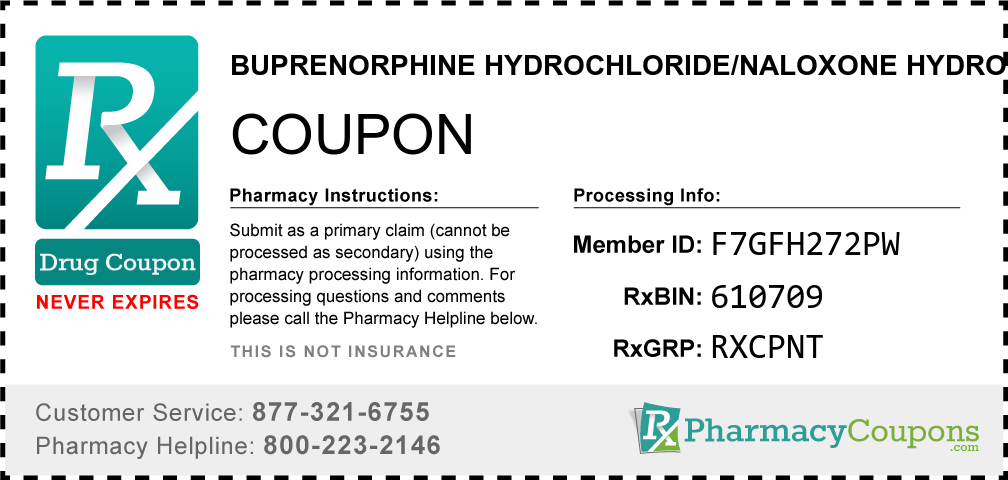 Buprenorphine hydrochloride/naloxone hydrochloride Prescription Drug Coupon with Pharmacy Savings