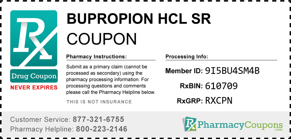 Bupropion hcl sr Prescription Drug Coupon with Pharmacy Savings