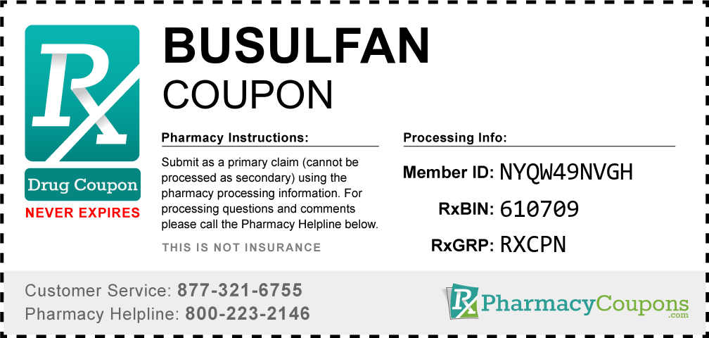 Busulfan Prescription Drug Coupon with Pharmacy Savings