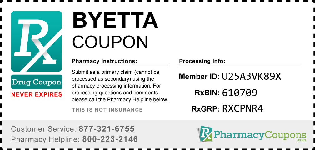 Byetta Prescription Drug Coupon with Pharmacy Savings