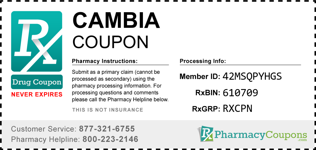 Cambia Prescription Drug Coupon with Pharmacy Savings