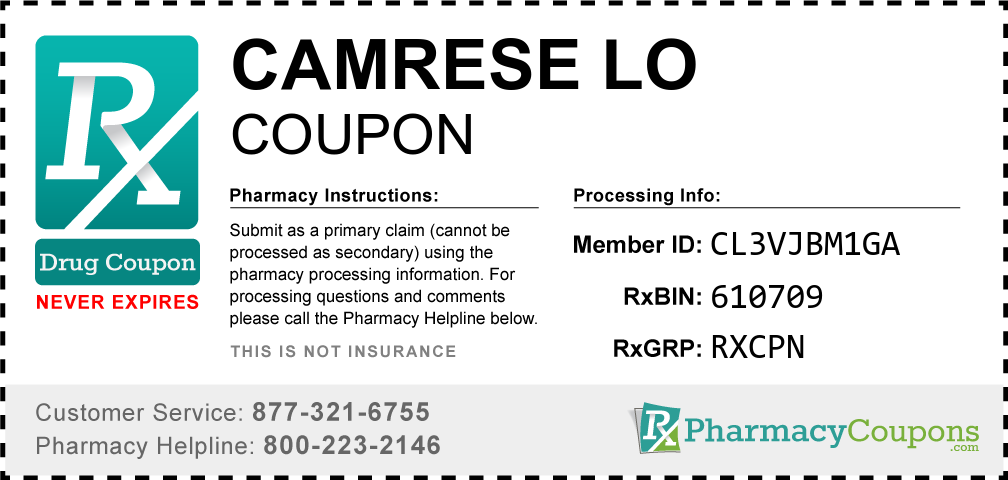 Camrese lo Prescription Drug Coupon with Pharmacy Savings