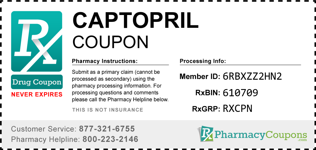 Captopril Prescription Drug Coupon with Pharmacy Savings