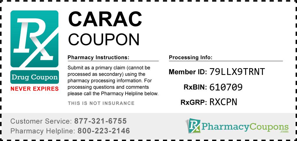 Carac Prescription Drug Coupon with Pharmacy Savings