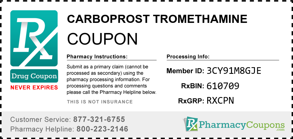 Carboprost tromethamine Prescription Drug Coupon with Pharmacy Savings