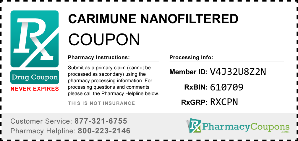 Carimune nanofiltered Prescription Drug Coupon with Pharmacy Savings