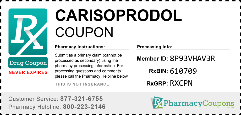 Carisoprodol Prescription Drug Coupon with Pharmacy Savings