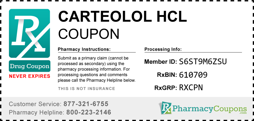 Carteolol hcl Prescription Drug Coupon with Pharmacy Savings