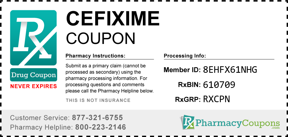 Cefixime Prescription Drug Coupon with Pharmacy Savings