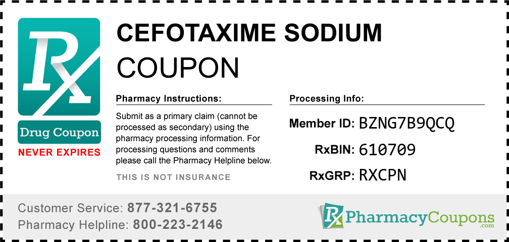Cefotaxime sodium Prescription Drug Coupon with Pharmacy Savings