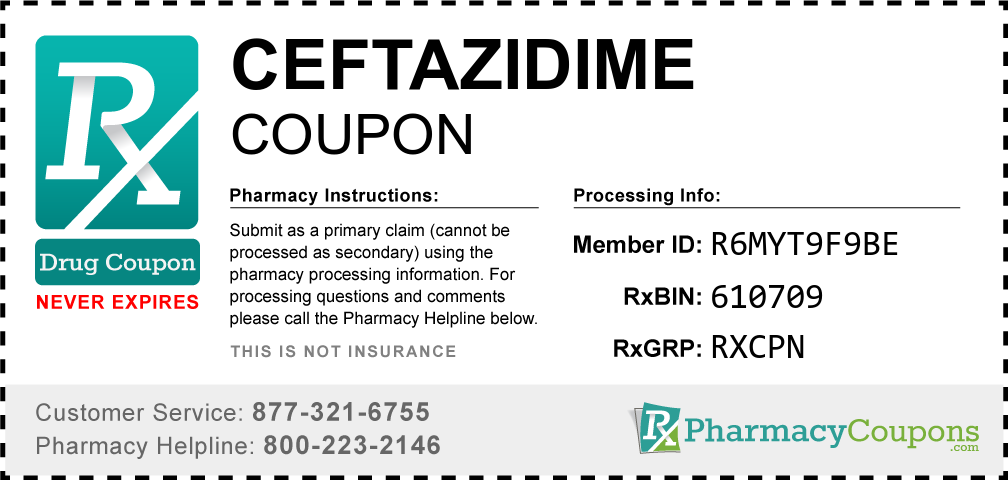 Ceftazidime Prescription Drug Coupon with Pharmacy Savings